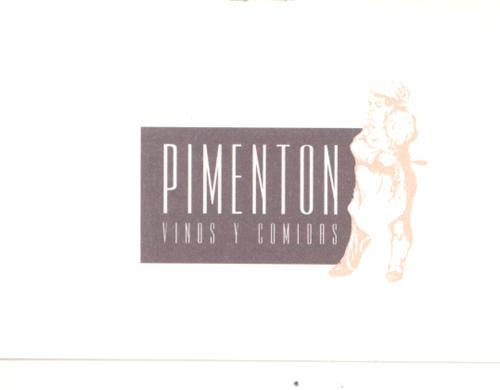 Restaurante Pimentón en la Plaza de España de La Coruña. Tarjeta de visita