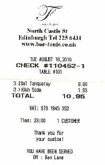 Ticket del Tonic Bar