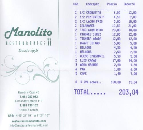 Restaurante y Mesón Manolito en La Coruña. Sirva como referencia la factura pagada