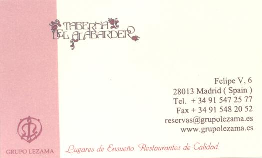 Tarjeta de visita de la taberna Alabardero