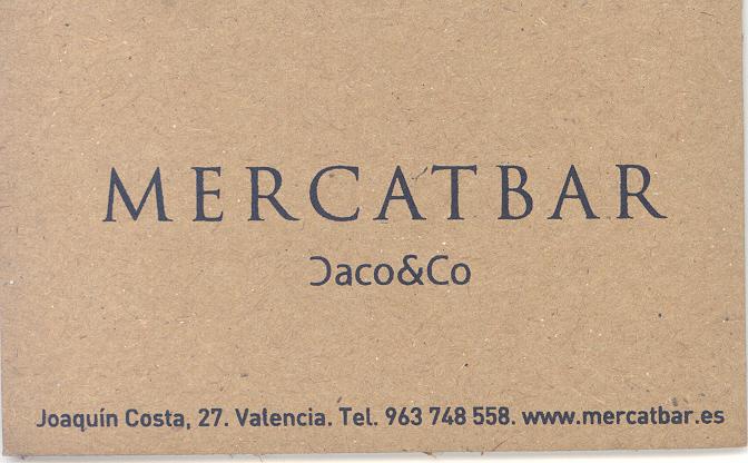 Tarjeta de visita del Mercatbar