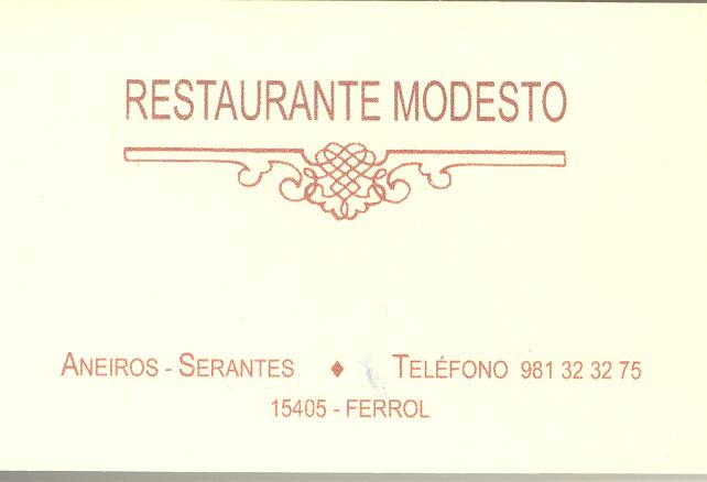 Tarjeta del restaurante Modesto