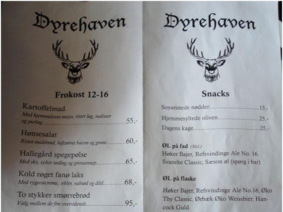 Café Dyrehaven en Copenhage
