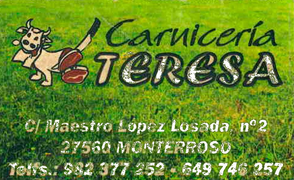 Queso curado en aceite de hacer chorizos en la villa de Monterroso Lugo. Tarjeta de visita de la Carniceria Teresa Monterroso