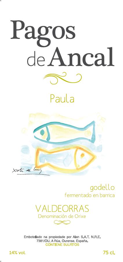 Etiqueta con ilustraciones de Xoti de Luis y diseño de Pululart
