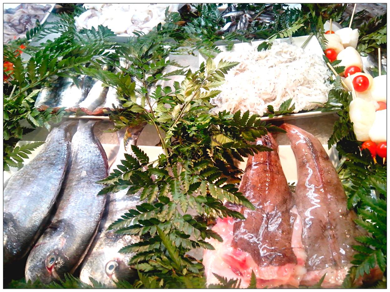 Bonito mostrador de pescados del día