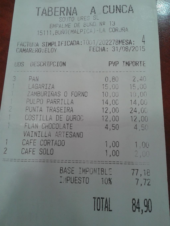 De Borneiro a mesa y mantel en el restaurante A Cunca en Buño